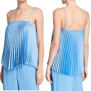 Vince Square Neck Pleated Camisole Blue Pumice L